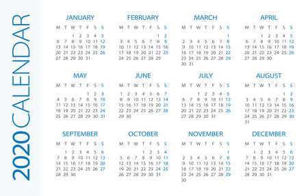 Calendar 2020 year Horizontal - vector illustration. Week starts on Monday Illusztráció