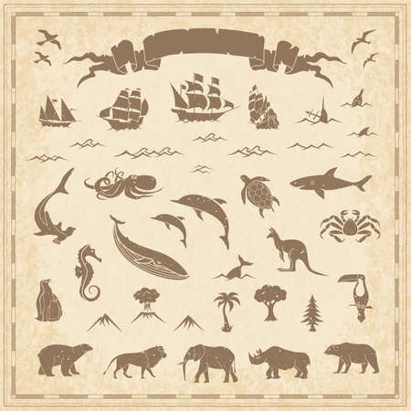 Ancient Vintage Retro Map Maritime Animal Nature Element Set - Vector