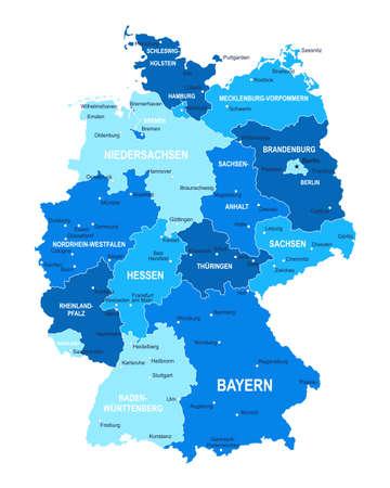Germany map. Cities regions Vector illustration Vetores