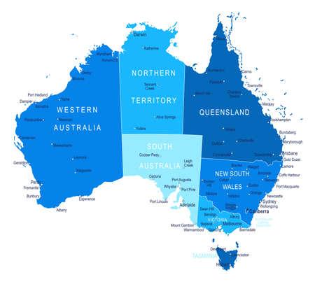Australia map. Cities regions Vector illustration