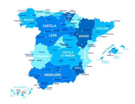 Spain map. Cities regions Vector illustration