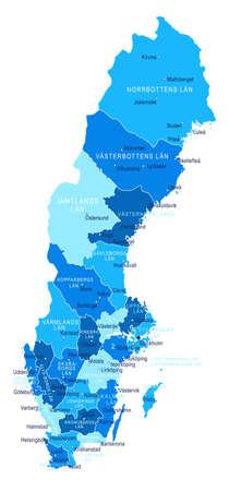 Sweden map. Cities regions Vector illustration