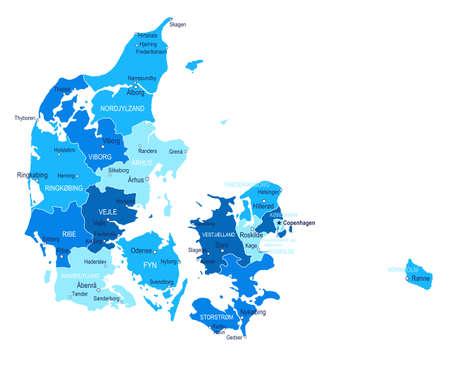 Denmark map. Cities regions Vector illustration
