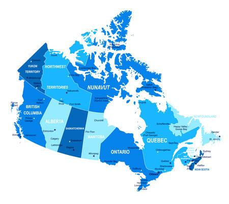Canada map. Cities regions Vector illustration Vektorové ilustrace