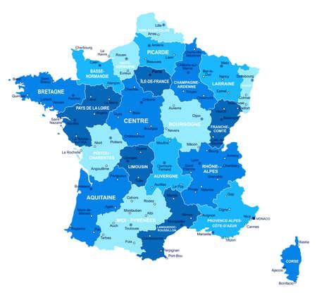 France map. Cities regions Vector illustration