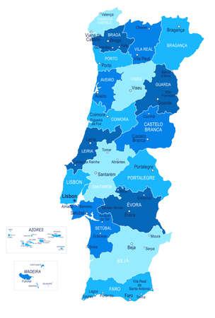 Portugal map. Cities regions Vector illustration