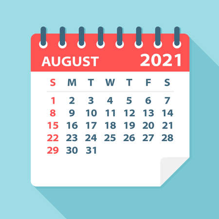 August 2021 Calendar Leaf - Illustration. Vector graphic page