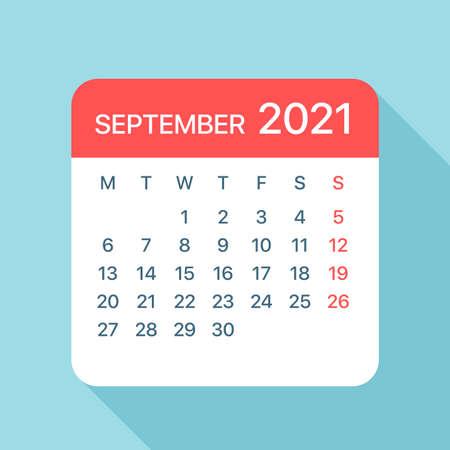 September 2021 Calendar Leaf - Illustration. Vector graphic page Vektorové ilustrace