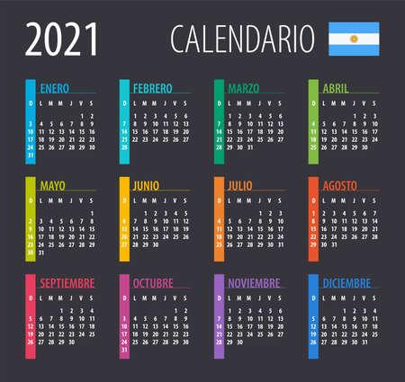 2021 Calendar - illustration. Template. Mock up Argentinean version Vektoros illusztráció