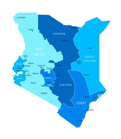 Kenya map. Cities regions Vector illustration