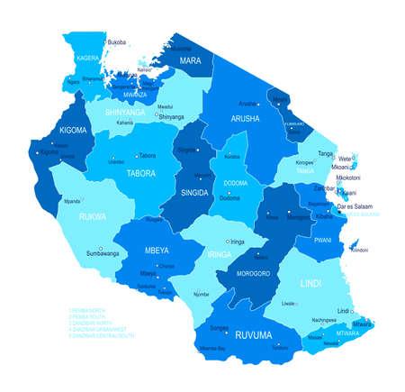 Tanzania map. Cities regions Vector illustration