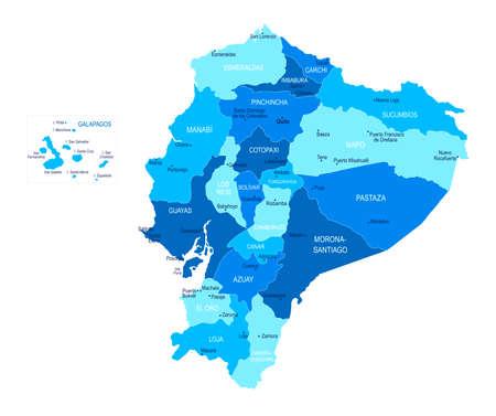 Ecuador map. Cities regions Vector illustration