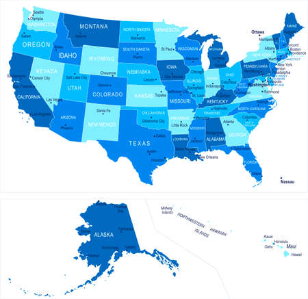 United States map. Cities regions Vector illustration