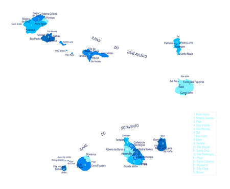 Cape Verde map. Cities regions Vector illustration