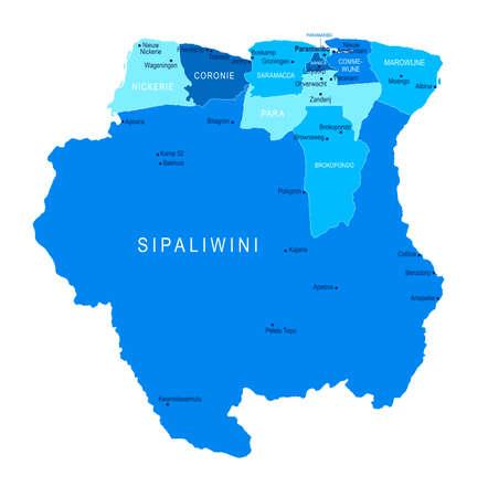 Suriname map. Cities regions Vector illustration