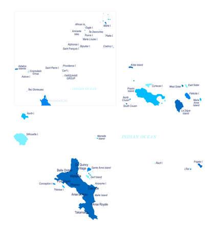 Seychelles map. Cities regions Vector illustration