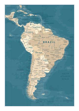 South America Map - Vintage Detailed Vector Illustration 矢量图像