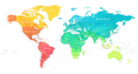 World Map Color Bright Political - Vector Detailed