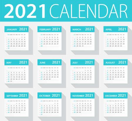 2021 Calendar Leaves Set - Illustration Vettoriali
