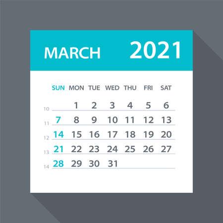 March 2021 Calendar Leaf - Illustration. Vector graphic page