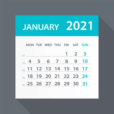 January 2021 Calendar Leaf - Illustration. Vector graphic page