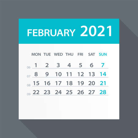 February 2021 Calendar Leaf - Illustration. Vector graphic page Vettoriali