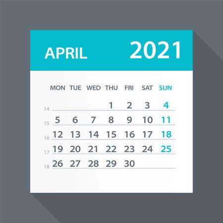 April 2021 Calendar Leaf - Illustration. Vector graphic page