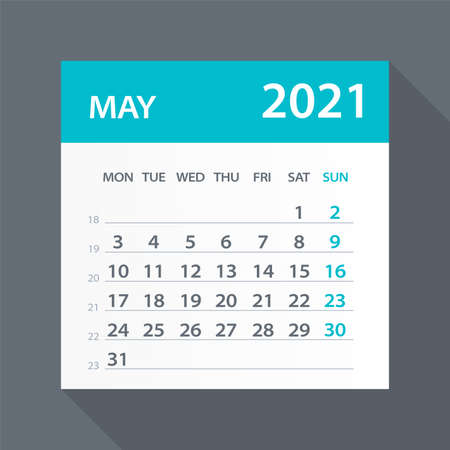 May 2021 Calendar Leaf - Illustration. Vector graphic page