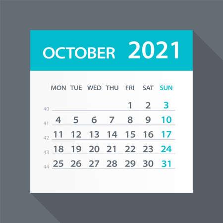 October 2021 Calendar Leaf - Illustration. Vector graphic page