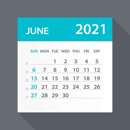 June 2021 Calendar Leaf - Illustration. Vector graphic page Vettoriali