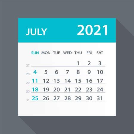 July 2021 Calendar Leaf - Illustration. Vector graphic page
