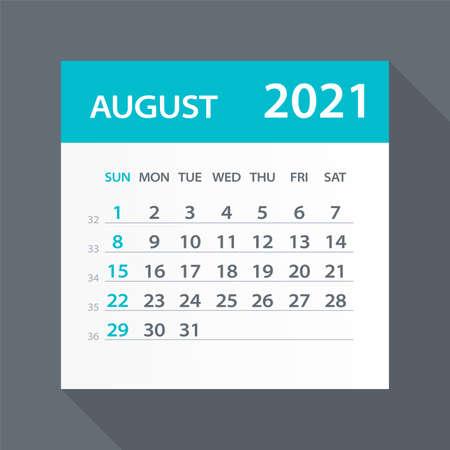August 2021 Calendar Leaf - Illustration. Vector graphic page