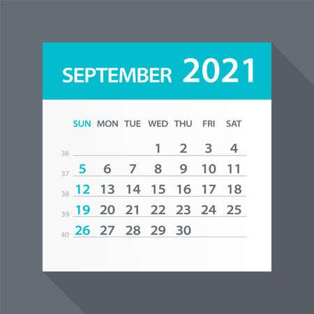September 2021 Calendar Leaf - Illustration. Vector graphic page