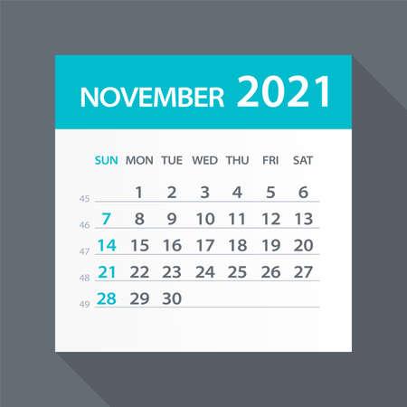 November 2021 Calendar Leaf - Illustration. Vector graphic page Vettoriali