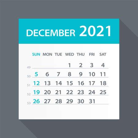 December 2021 Calendar Leaf - Illustration. Vector graphic page Vettoriali