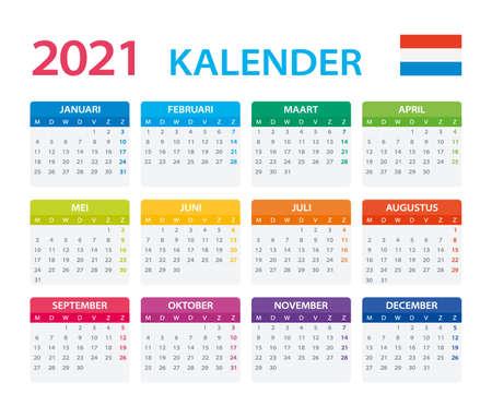 Vector template of color 2021 calendar - Dutch version