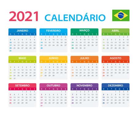 Vector template of color 2021 calendar - Brazilian version Vettoriali