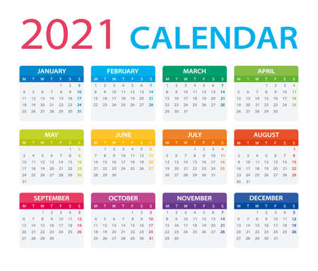 Vector template of color 2021 calendar - Monday to Sunday