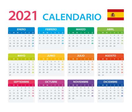 Vector template of color 2021 calendar - Spanish version Vettoriali