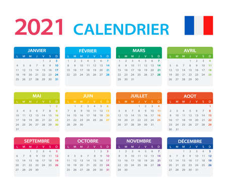 Vector template of color 2021 calendar - French version