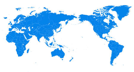 World Map - Pacific China Asia Centered View - Blue Color Political - Vector Layered