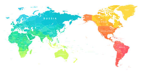 World Map Color Bright Political - Asia China Center - Vector Detailed