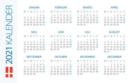 Calendar 2021 year Horizontal - vector illustration. Danish version Vettoriali