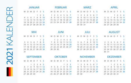 Calendar 2021 year Horizontal - vector illustration. Gerrman version