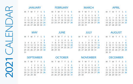 Calendar 2021 year Horizontal - vector illustration. Week starts on Monday