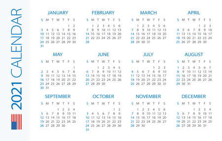 Calendar 2021 year Horizontal - vector illustration. American version. Week starts on Sunday