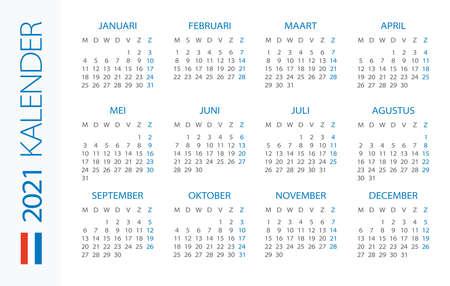 Calendar 2021 year Horizontal - vector illustration. Dutch version Vettoriali