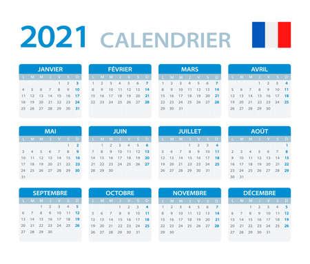 Vector template of color 2021 calendar - Portuguese version Vettoriali