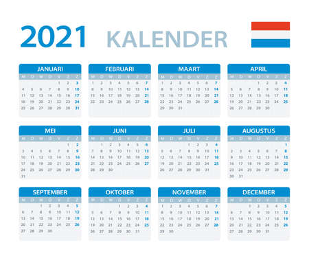 Vector template of color 2021 calendar - Dutch version Archivio Fotografico - 146838264