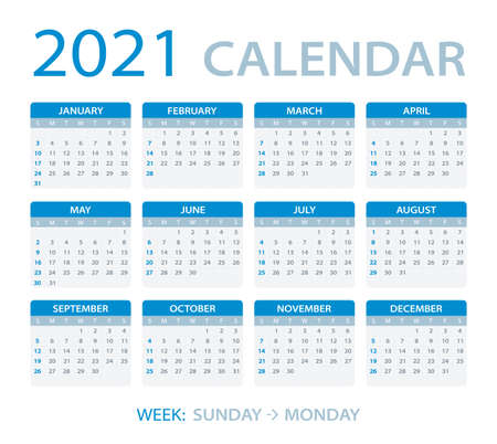 Calendrier 2021 - dimanche au lundi - modèle vectoriel